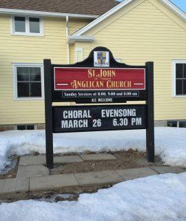 Cedar sandblasted church sign